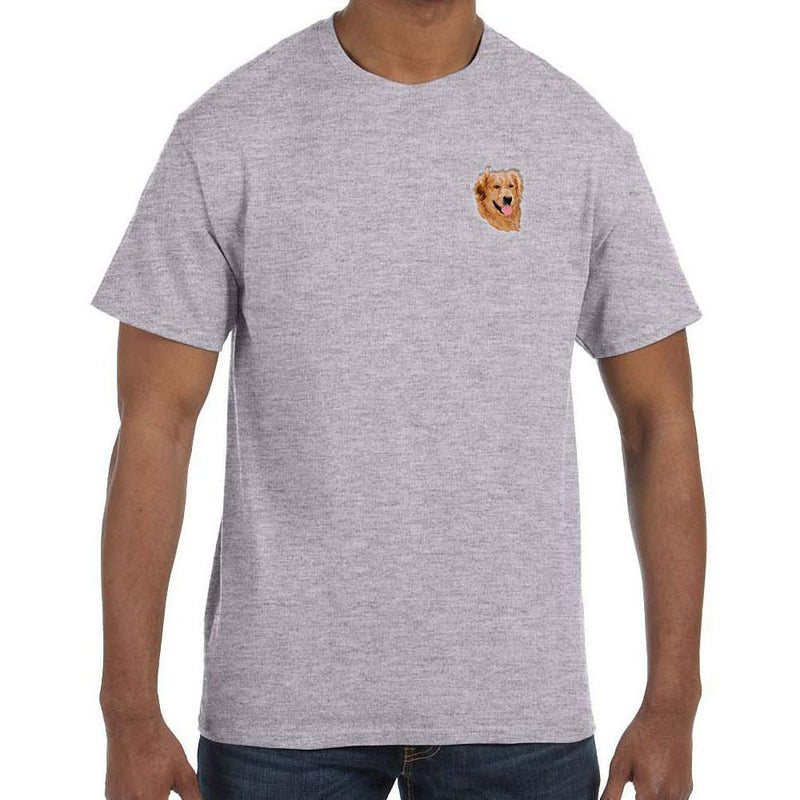 Embroidered Mens T-Shirts Sport Gray 3X Large Golden Retriever DM274