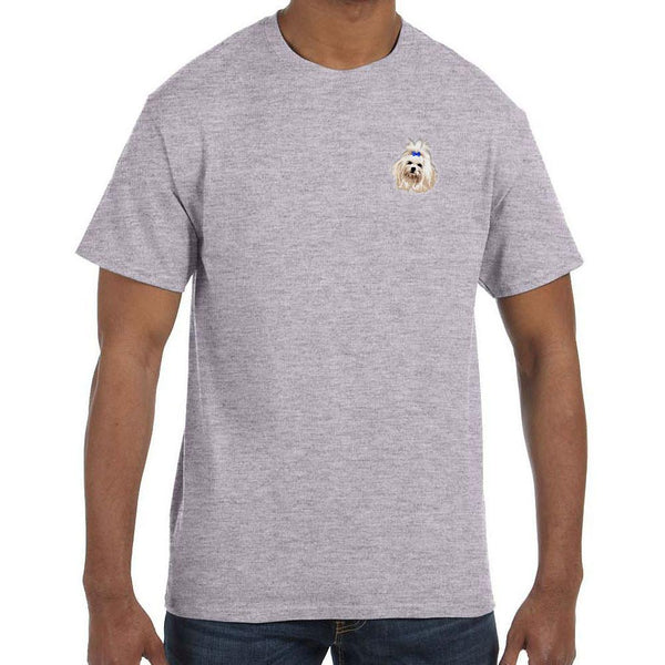 Embroidered Mens T-Shirts Sport Gray 3X Large Maltese DM273