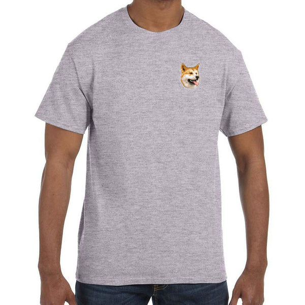 Embroidered Mens T-Shirts Sport Gray 3X Large Shiba Inu D91