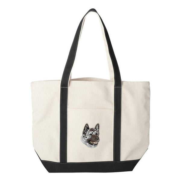 Embroidered Tote Bag Black  Akita DJ174