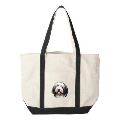Bearded Collie Embroidered Tote Bag