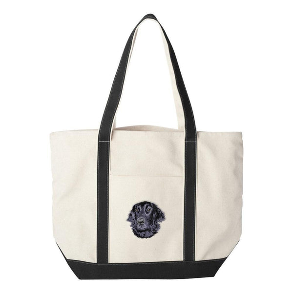 Embroidered Tote Bag Black  Flat Coated Retriever D53