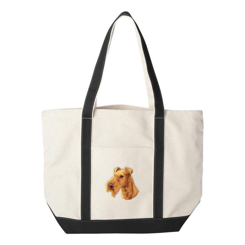 Embroidered Tote Bag Black  Irish Terrier D89