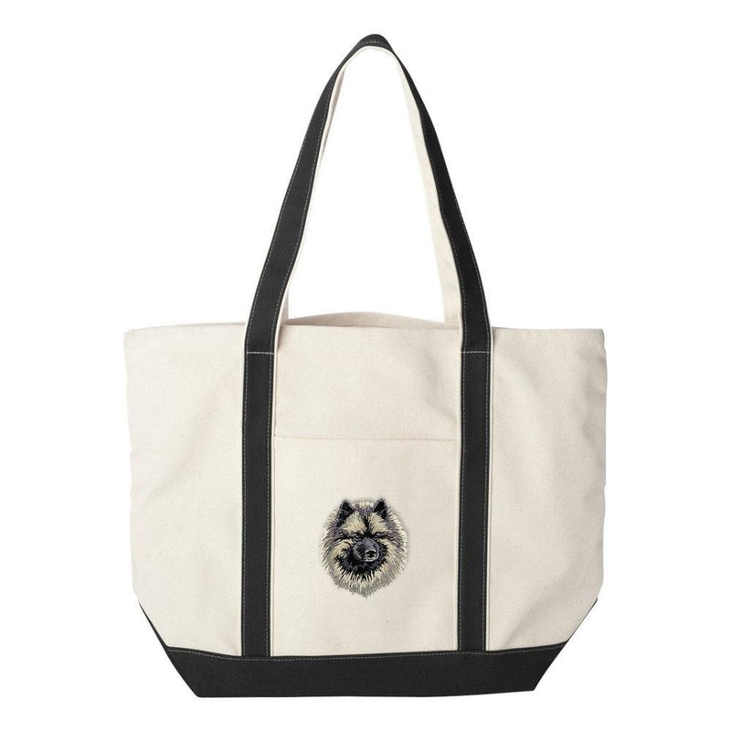 Embroidered Tote Bag Black  Keeshond DV169