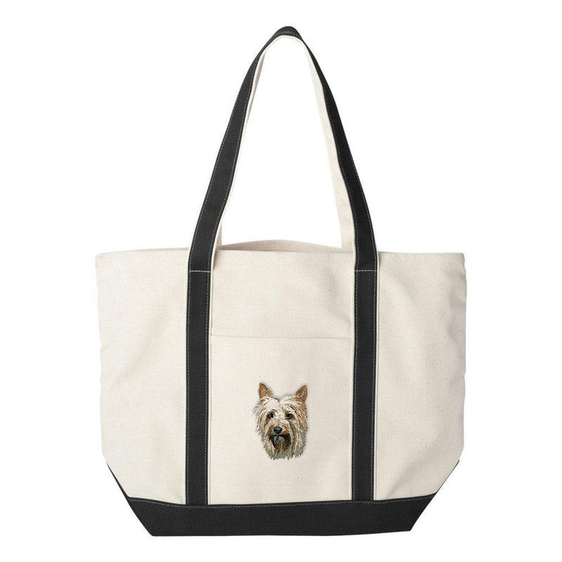 Embroidered Tote Bag Red  Silky Terrier DM405