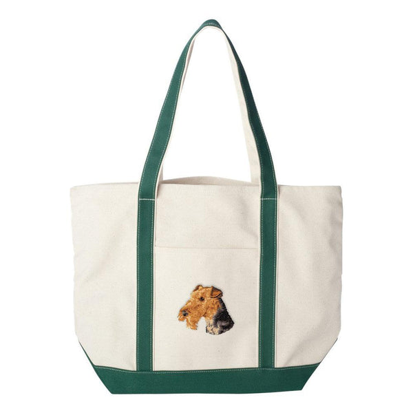 Embroidered Tote Bag Red  Airedale Terrier D67