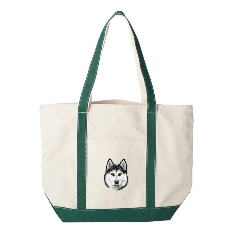 Embroidered Tote Bag Green  Siberian Husky D121