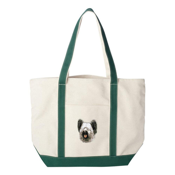 Embroidered Tote Bag Green  Skye Terrier DN392