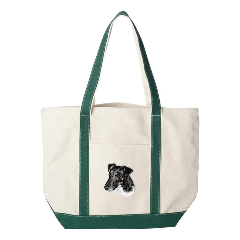 Embroidered Tote Bag Green  Smooth Fox Terrier D134