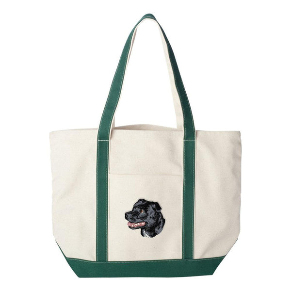 Embroidered Tote Bag Red  Staffordshire Bull Terrier D113