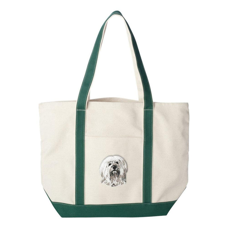 Embroidered Tote Bag Red  Tibetan Terrier DN391