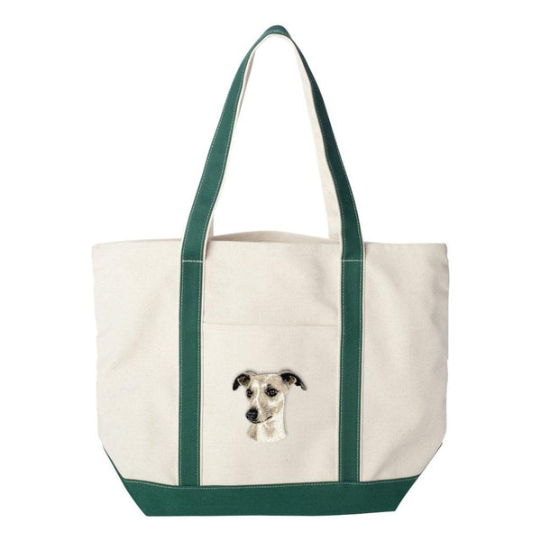 Embroidered Tote Bag Red  Whippet D65