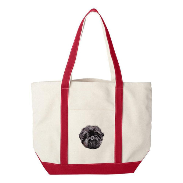 Embroidered Tote Bag Green  Affenpinscher DM488