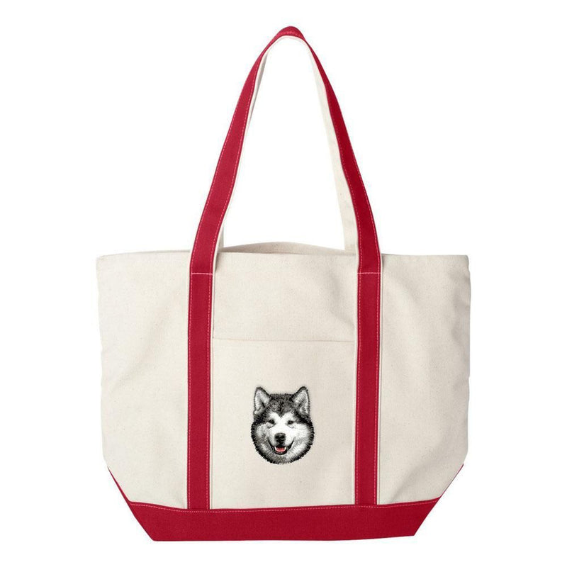 Embroidered Tote Bag Green  Alaskan Malamute D33