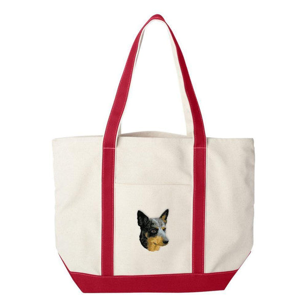 Embroidered Tote Bag Green  Australian Cattle Dog D99