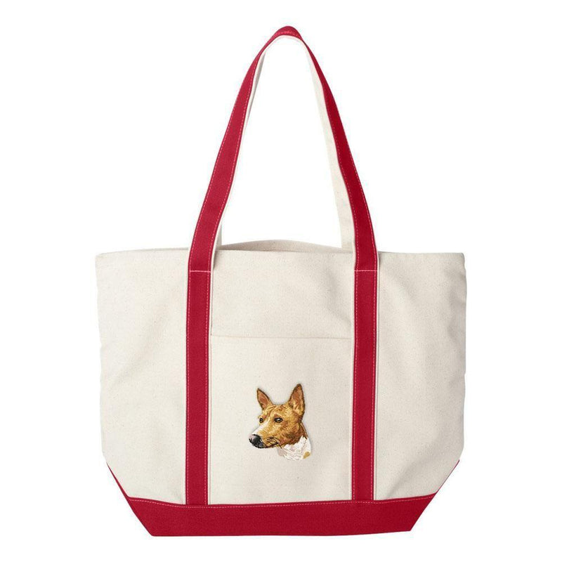 Embroidered Tote Bag Green  Basenji DM171