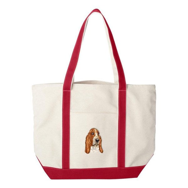 Embroidered Tote Bag Green  Basset Hound DV286