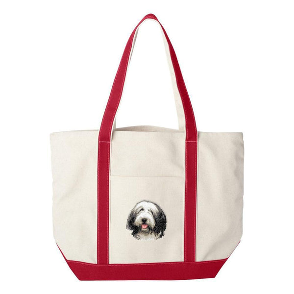 Embroidered Tote Bag Green Bearded Collie D37