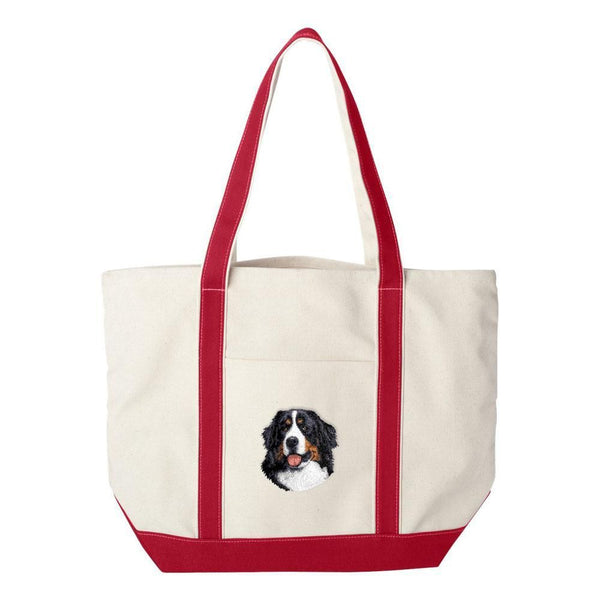 Embroidered Tote Bag Green  Bernese Mountain Dog D13