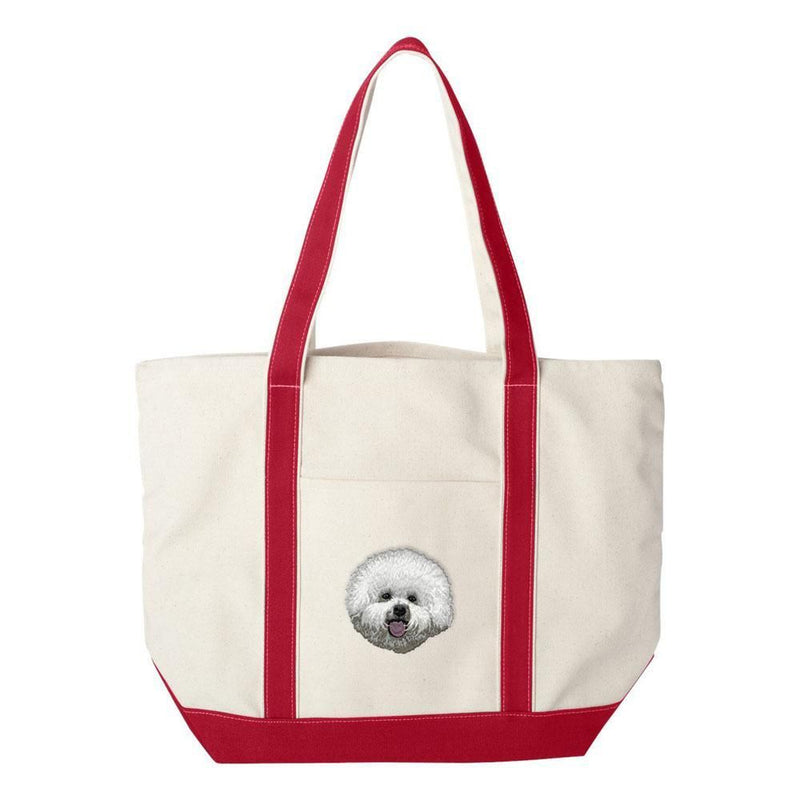 Embroidered Tote Bag Green  Bichon Frise DM406