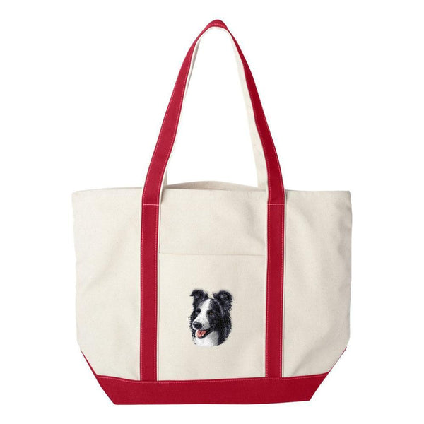 Embroidered Tote Bag Green  Border Collie D16
