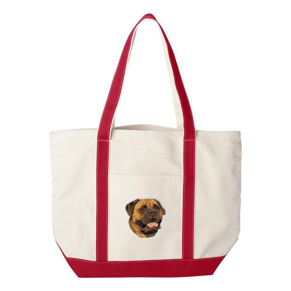 Embroidered Tote Bag Green  Bullmastiff D56