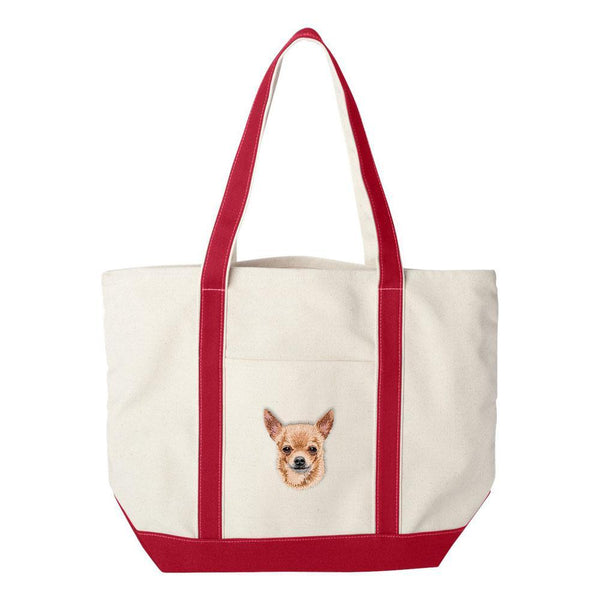 Embroidered Tote Bag Green  Chihuahua DV385