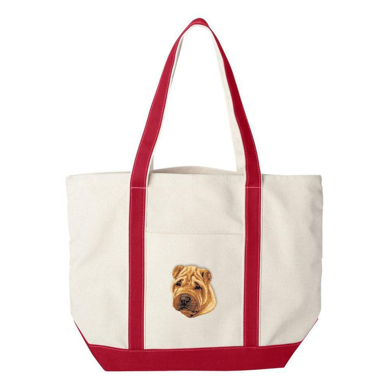 Embroidered Tote Bag Green  Chinese Shar Pei D77