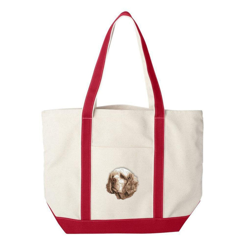 Embroidered Tote Bag Green  Clumber Spaniel D46