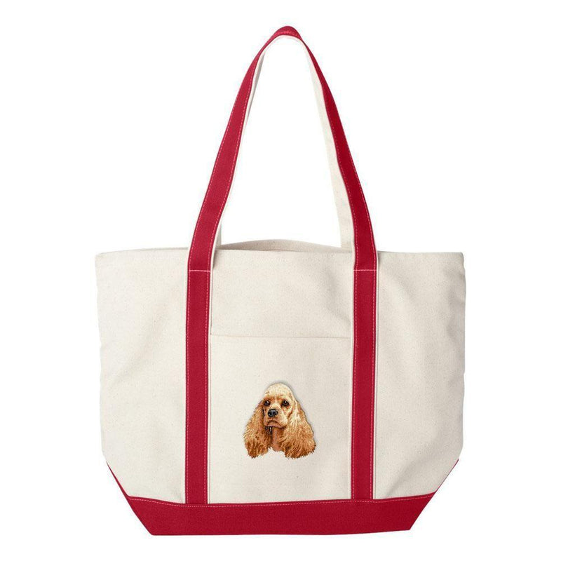 Embroidered Tote Bag Green  Cocker Spaniel D20
