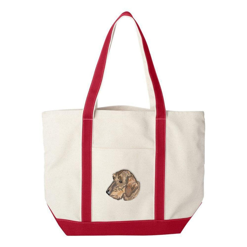 Embroidered Tote Bag Green  Dachshund DV360