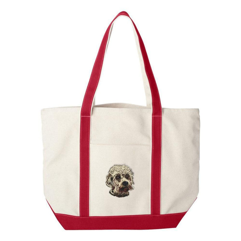 Embroidered Tote Bag Green  Dandie Dinmont Terrier DJ299