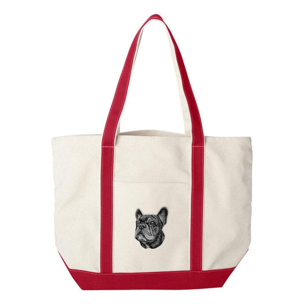 Embroidered Tote Bag Green  French Bulldog DV352