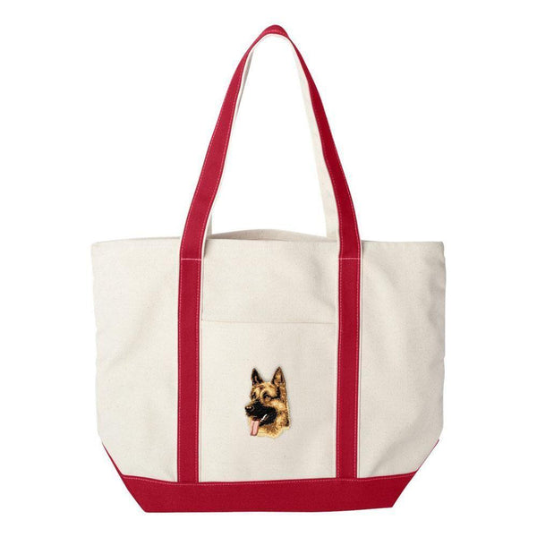 Embroidered Tote Bag Green  German Shepherd Dog D1