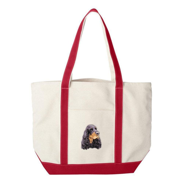 Embroidered Tote Bag Green  Gordon Setter D78