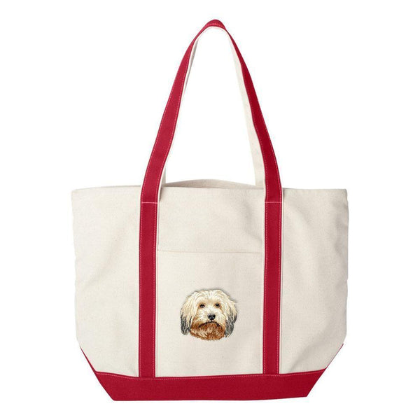 Embroidered Tote Bag Green  Havanese DV372