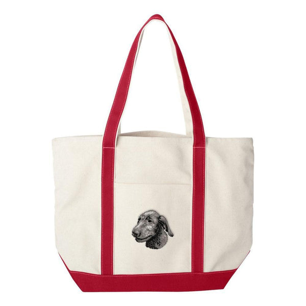 Embroidered Tote Bag Green  Irish Wolfhound D75