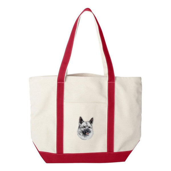 Embroidered Tote Bag Green  Norwegian Elkhound D144
