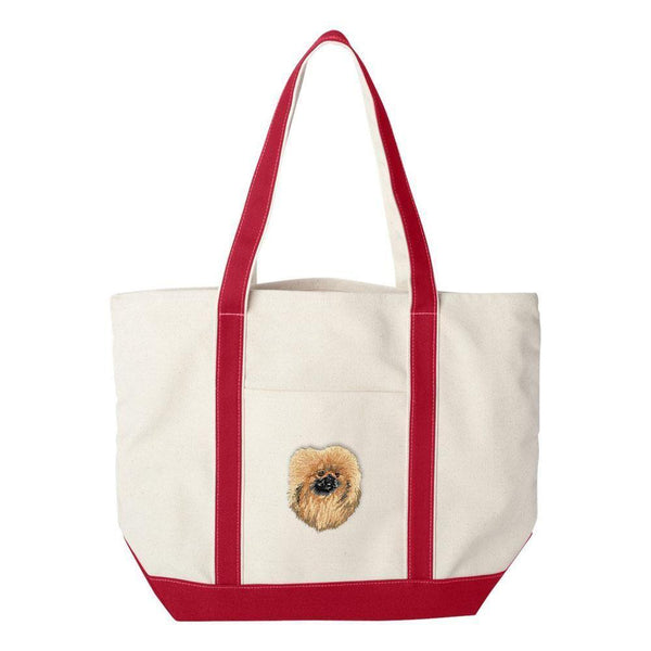 Embroidered Tote Bag Green  Pekingese DV373