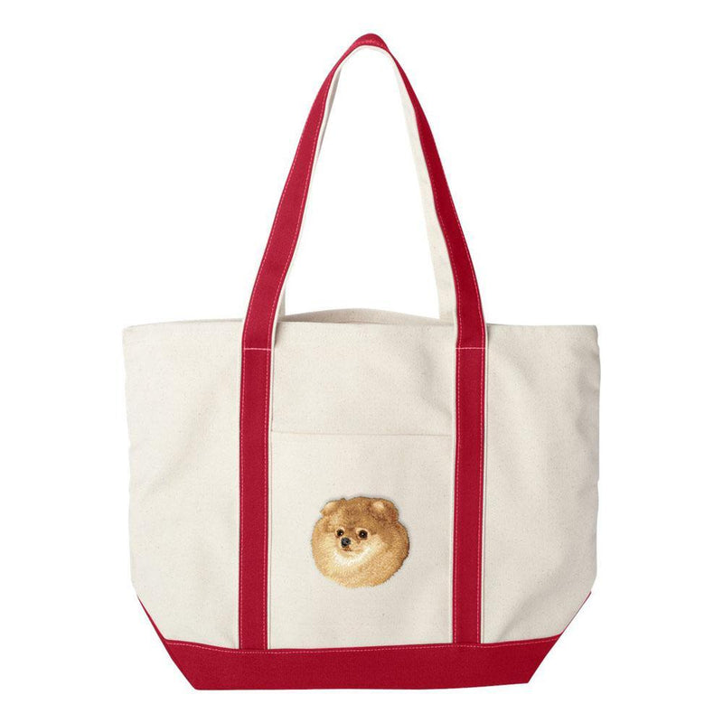 Embroidered Tote Bag Green  Pomeranian D103