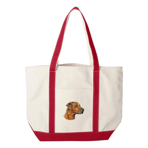 Embroidered Tote Bag Green  Rhodesian Ridgeback DN297