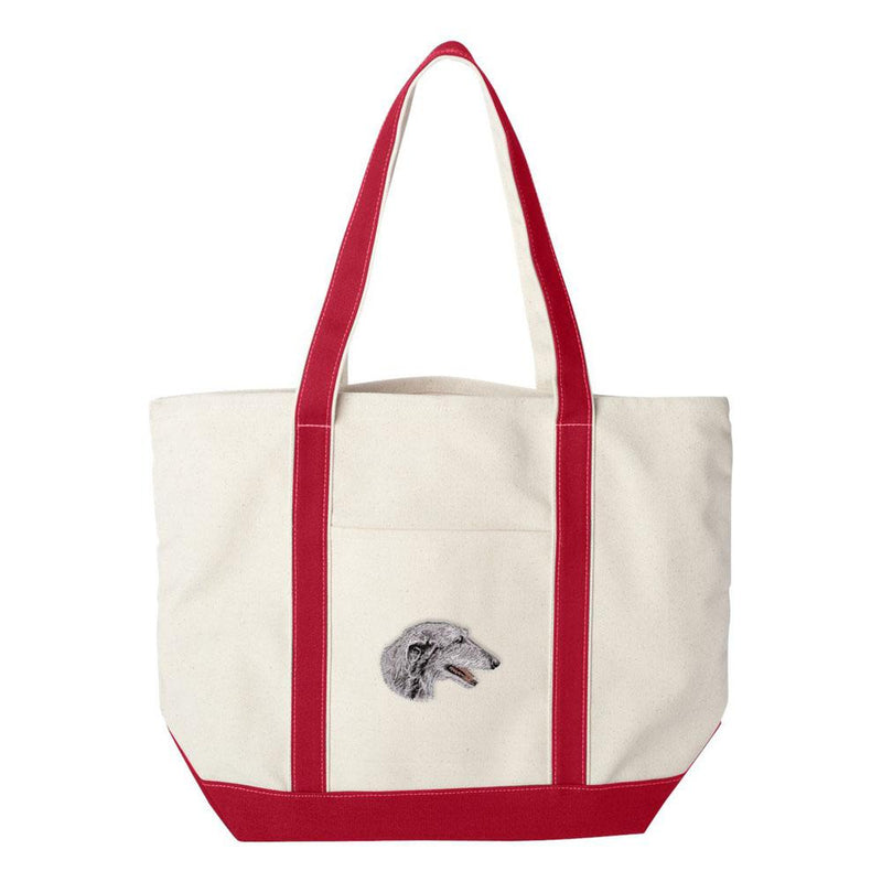 Embroidered Tote Bag Green  Scottish Deerhound D52