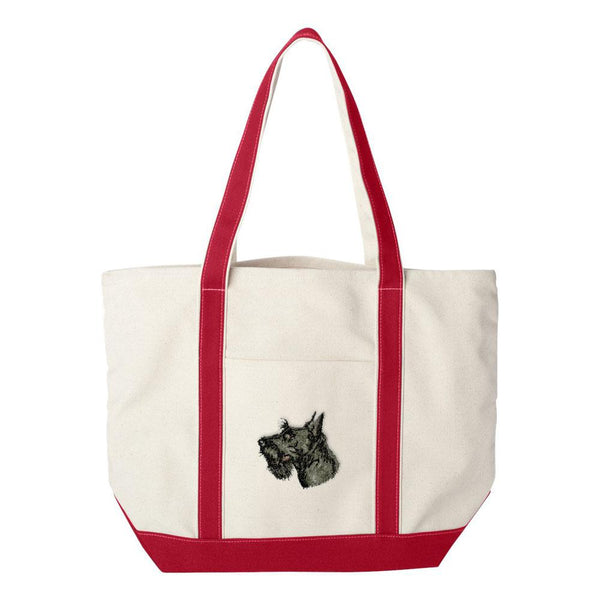 Embroidered Tote Bag Green  Scottish Terrier D32