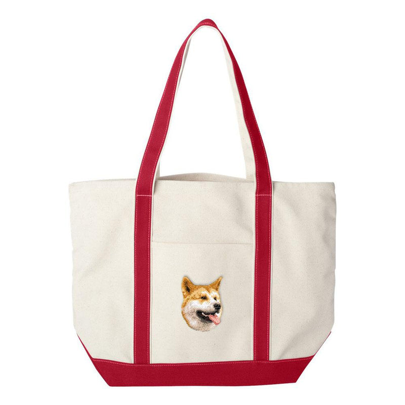 Embroidered Tote Bag Green  Shiba Inu D91