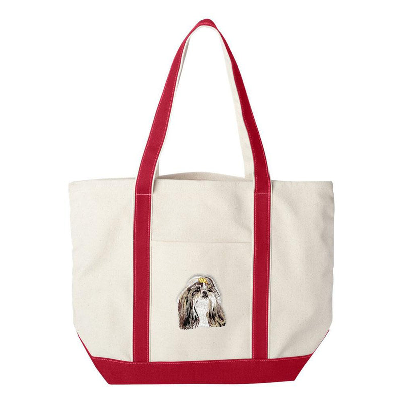 Embroidered Tote Bag Green  Shih Tzu DN390