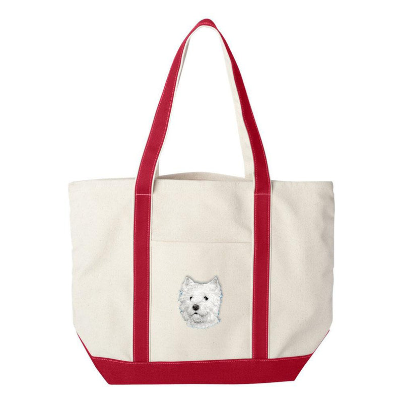 Embroidered Tote Bag Green  West Highland White Terrier D126