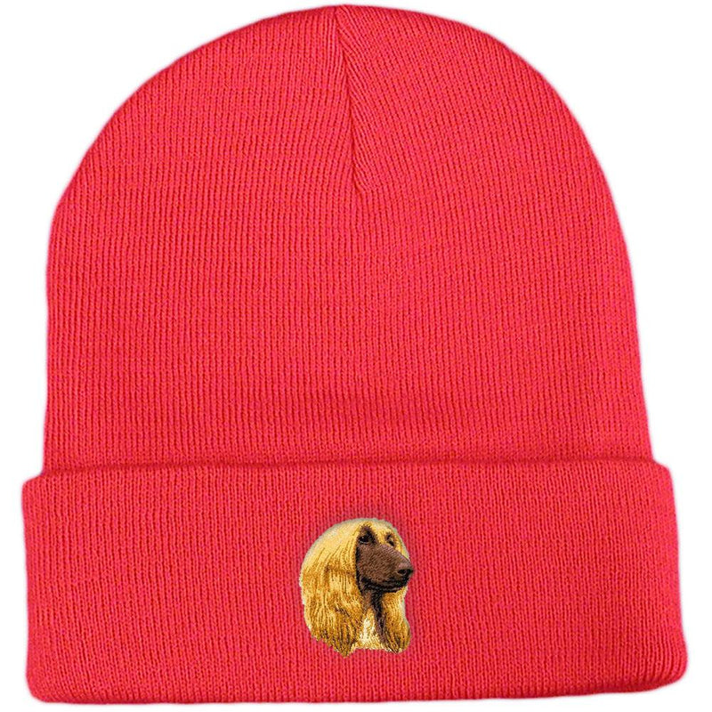 Embroidered Beanies Red  Afghan Hound D42
