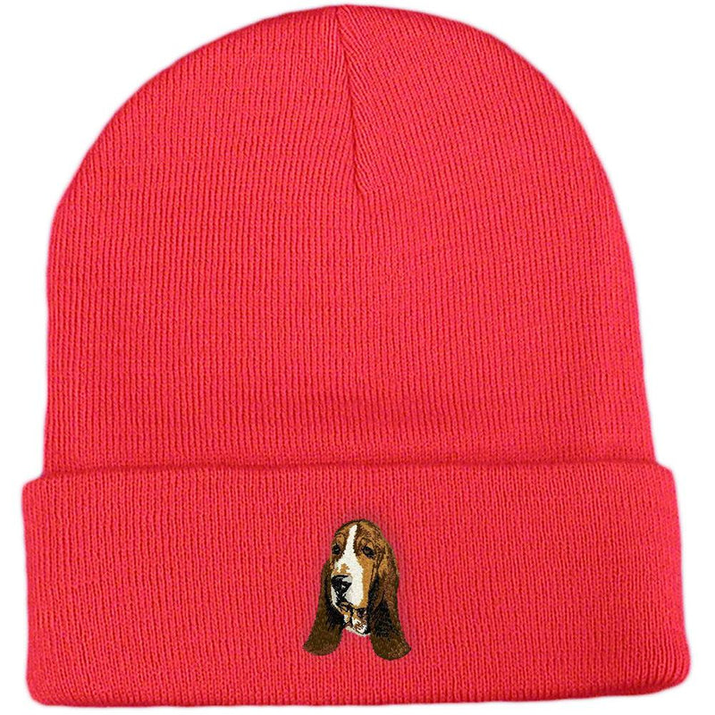 Embroidered Beanies Red  Basset Hound DJ229