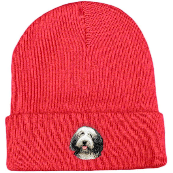 Embroidered Beanies Red  Bearded Collie D37