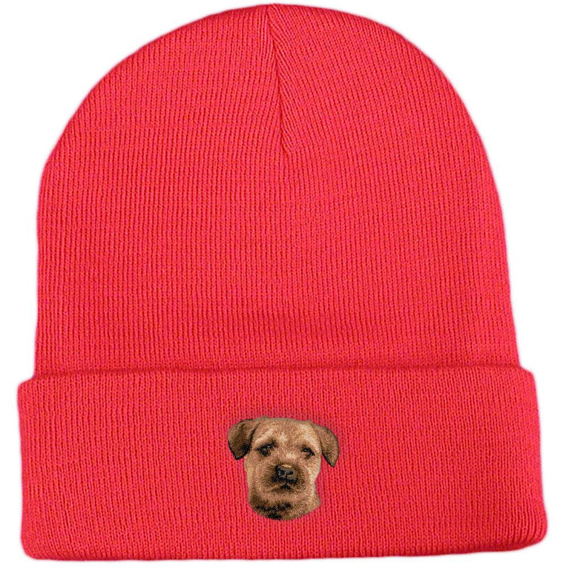 Embroidered Beanies Red  Border Terrier D51